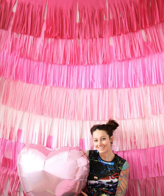 Pink Ombre Fringe Photo-Op Wall