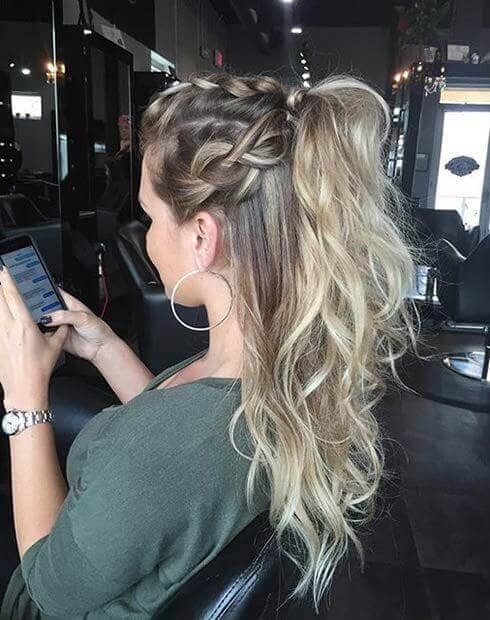 Braided Half-updo With High Pony