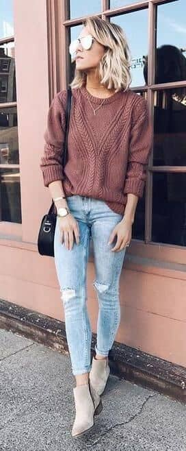 Slouchy Tops and Distressed Denim