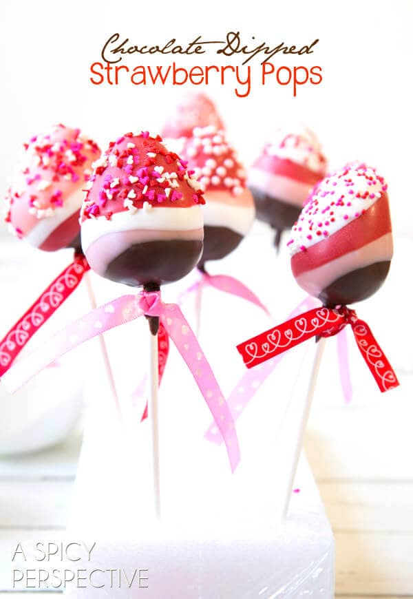 Dipped Strawberry Pops with Sprinkles