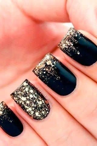Black with Gold Sparkle Tip