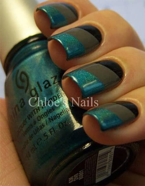 Holographic French Tip Black Design
