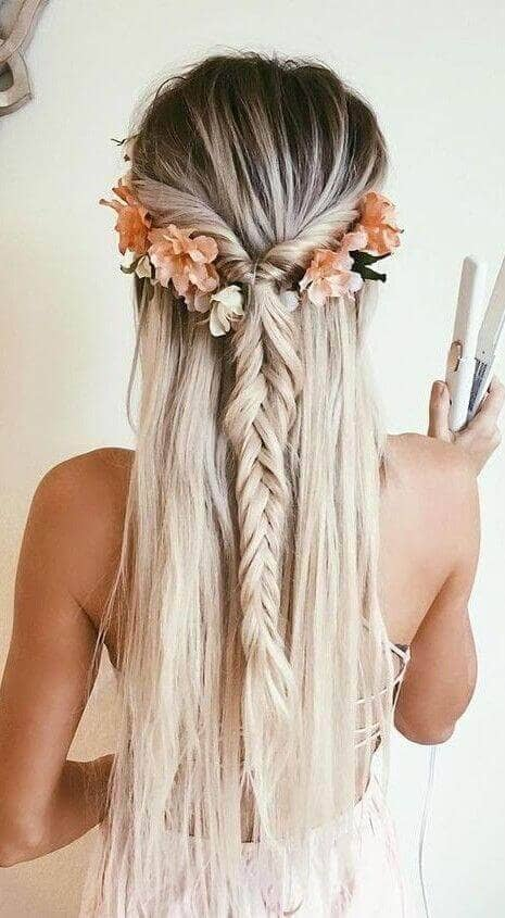 Half-updo With Rolled Braid And Flowers