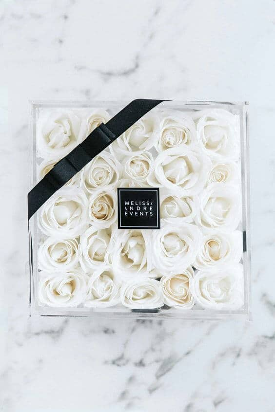 Box of Snow White Roses