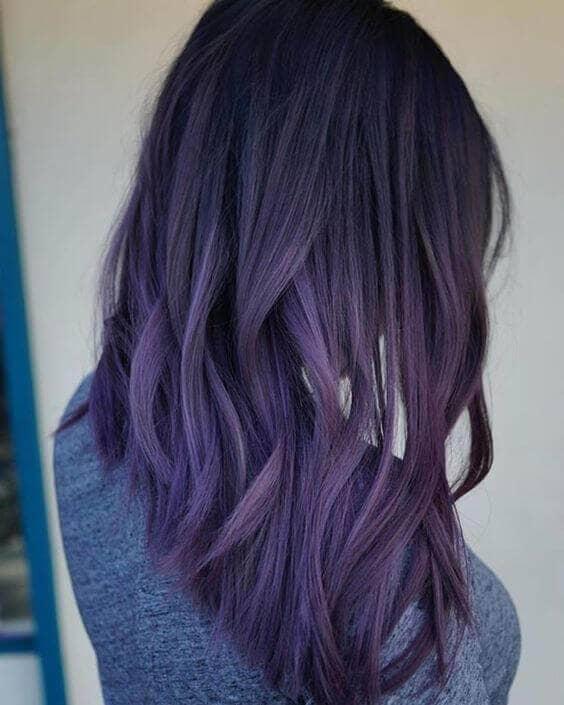Black To Purple Ombre Lob