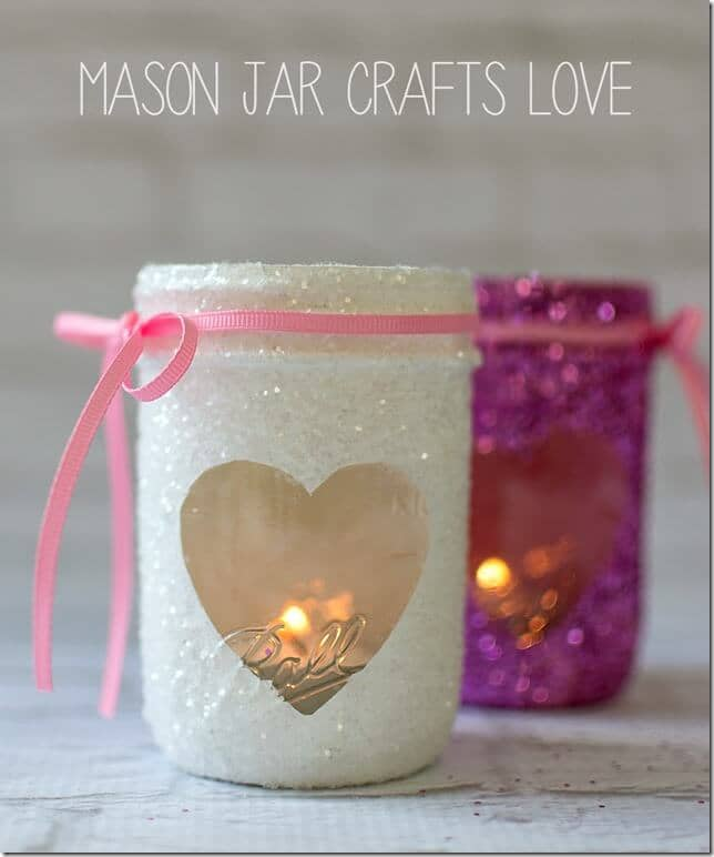 Frosted Mason Jar Candle Holders With Heart Window