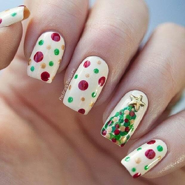 White with Polka Dots and Christmas Tree Nail Art