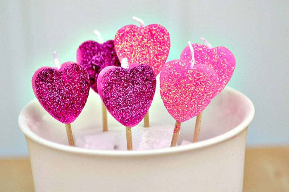 Heart-Shaped Pink and Purple Glitter Candles On-A-Stick