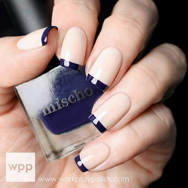 13) Navy Blue Tipped French Nail Art - 25 Of The Most Beautiful Nail Designs To Inspire You