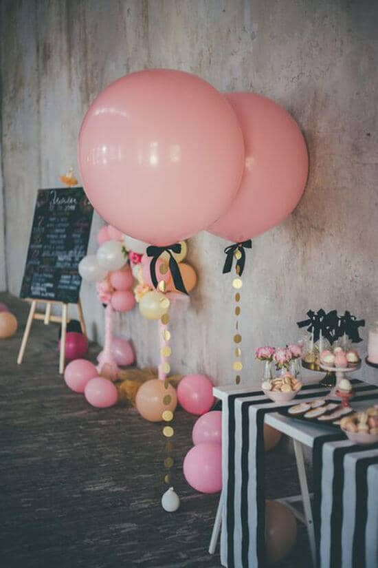 Pretty Tethered Pink Balloons