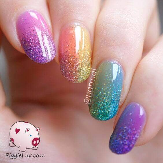 Jelly Rainbow Manicure with Ombré Glitter Tips