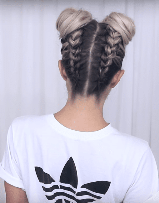 Braided Space Buns Updo