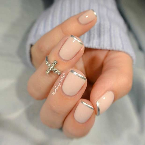 Nude French Design with Chrome Tips