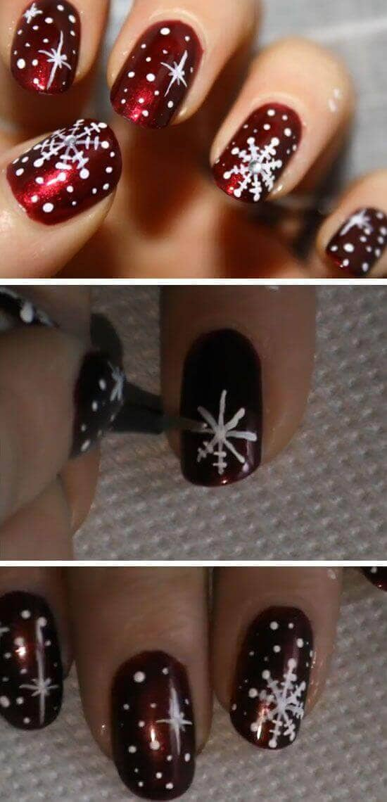 Shimmery Red with Snowflake Nail Design
