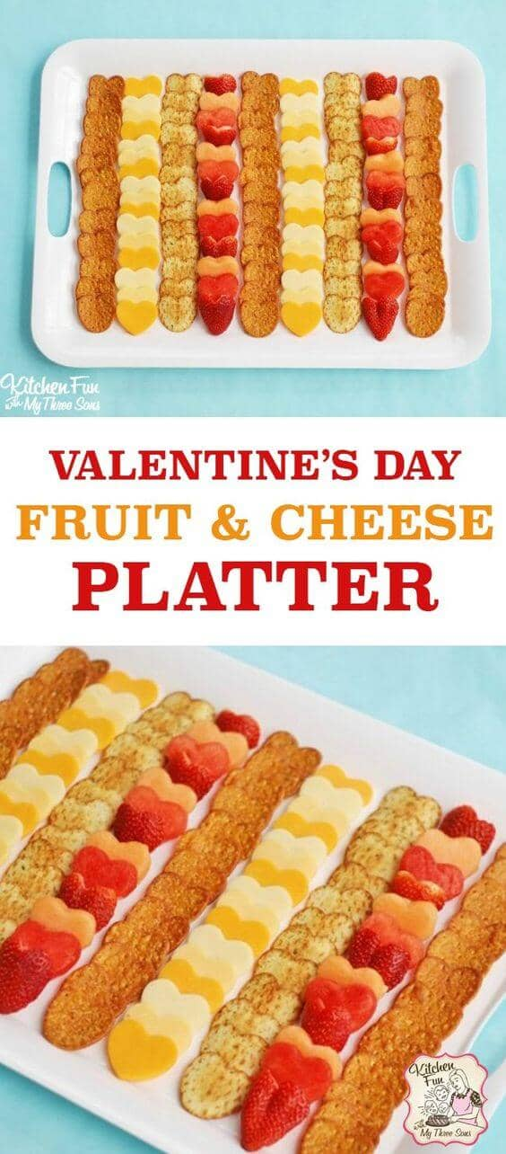 Heart-Shaped Fruit, Cheese, and Cracker Platter