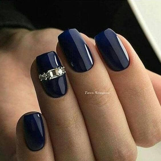 Navy Blue with Gem Accent