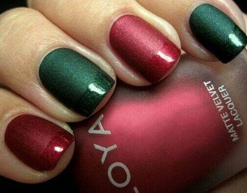Matte Red and Green with Matching Glossy Tips