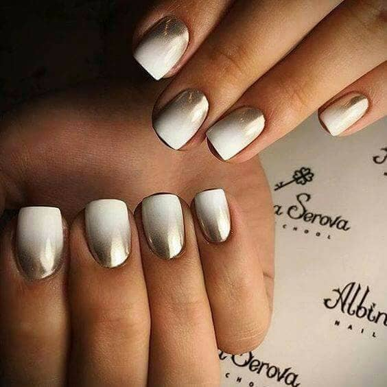 White and Chrome Gradient Manicure