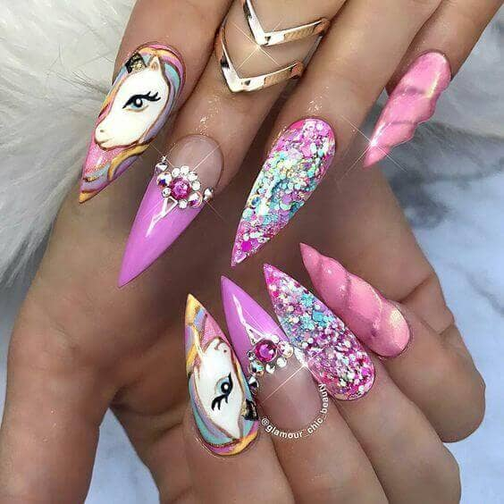 Unicorn Art Stiletto Nails