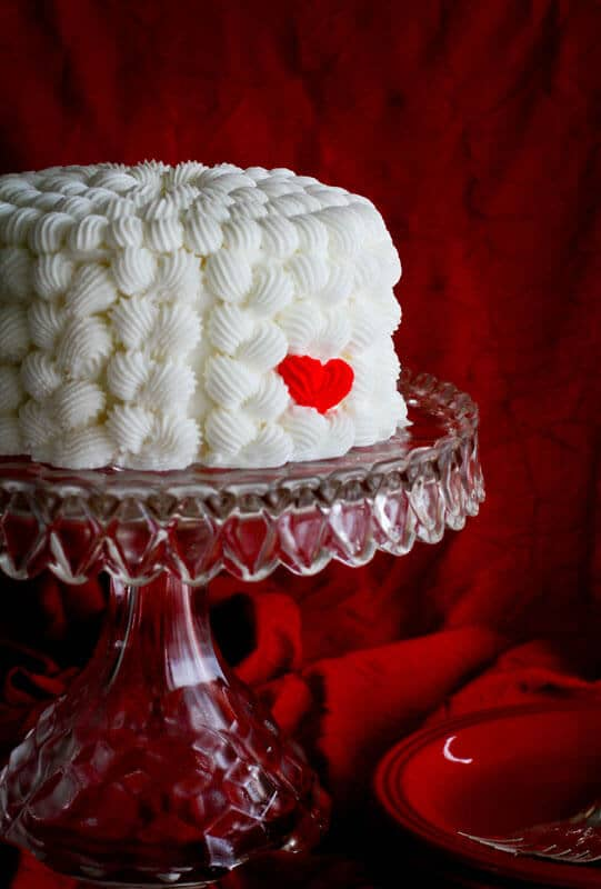 Layer Cake with a Cute Red Heart