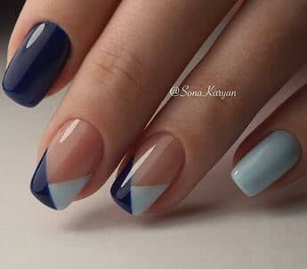 Blue Fishtail Tipped French Design