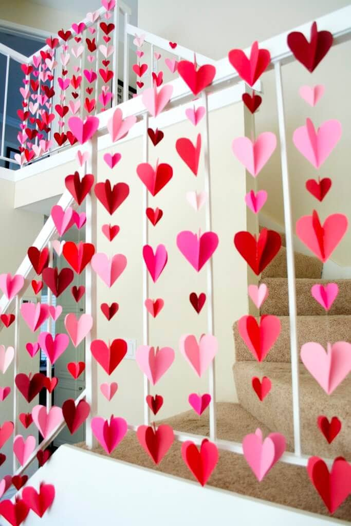 Falling Hearts Paper Art Garlands