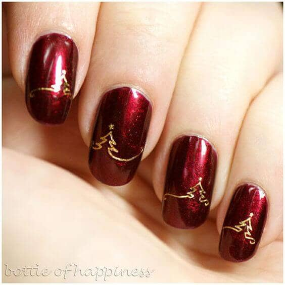 Micro Glitter Red With Gold Christmas Tree Nail Art
