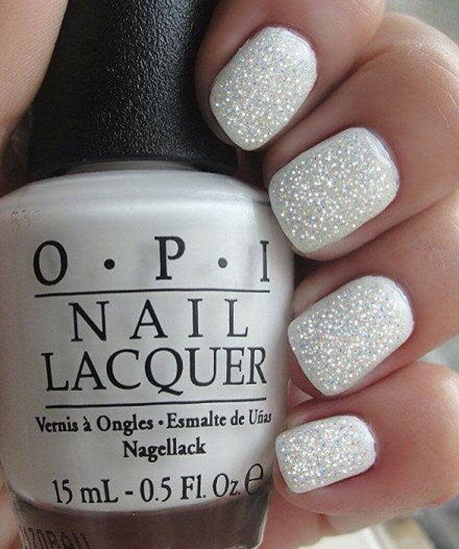Matte White With White Glitter Top Coat