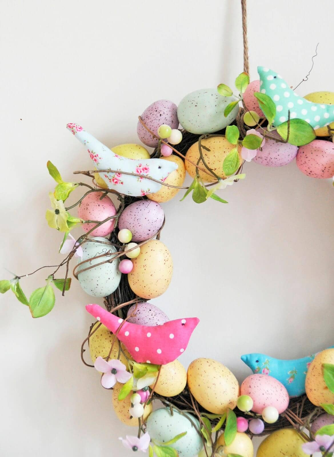 Stitched Songbirds Nestled in Wreath With Eggs