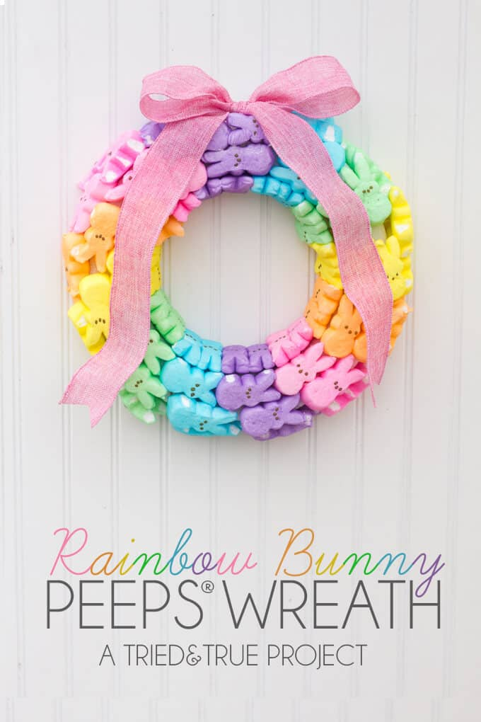 Bright and Colorful Rainbow Peeps Wreath