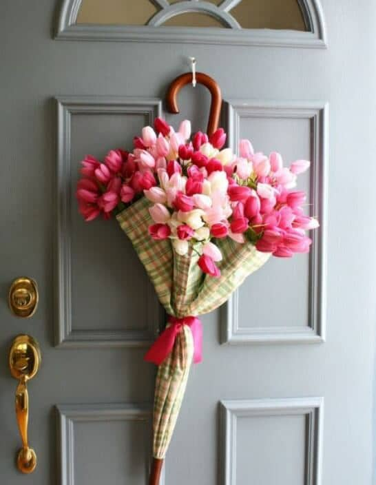 Umbrella Bouquet Bursting with Tulips