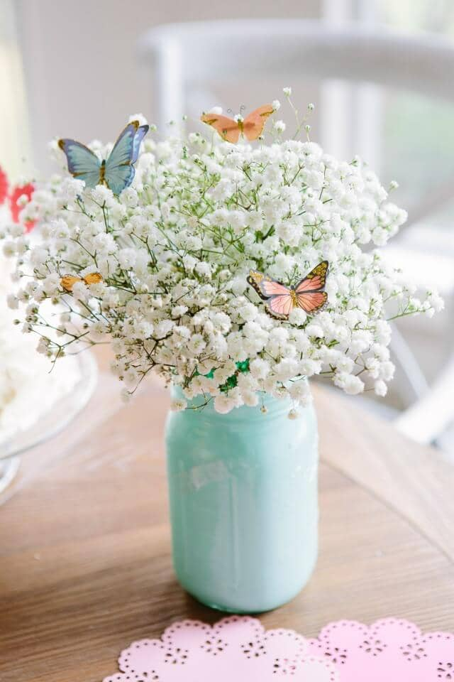 Paper Butterflies Amongst a Jar of Clover