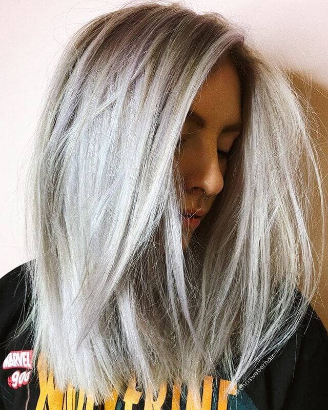 Color hair platinum blonde