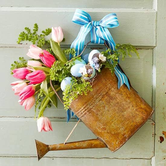 Bouquet Nestled in Hanging Rustic Watering Can
