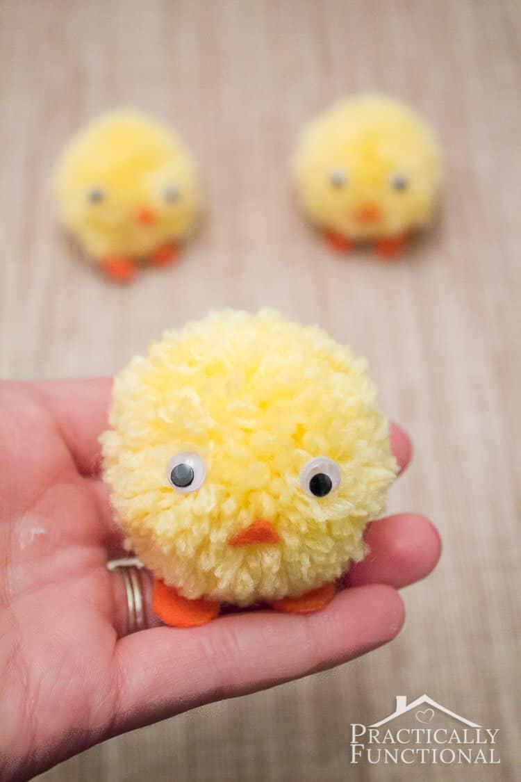 Funny Pom-Pom Chicks with Googly Eyes