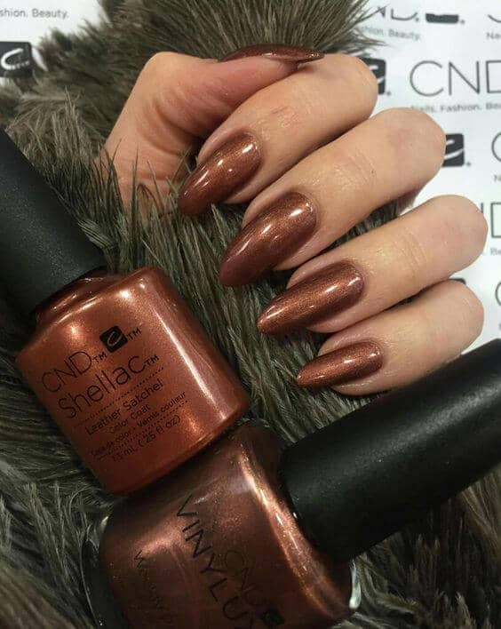 Shimmery Copper Bronze Stiletto Nails