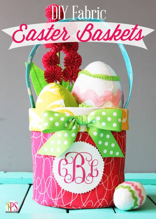 Monogrammed Fabric Basket with Bow
