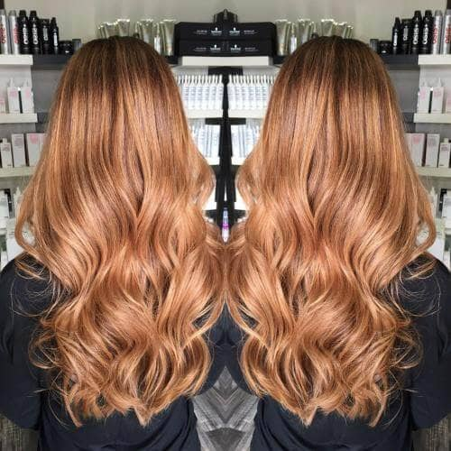 Long Delicate Strawberry Blonde Hair with Waves
