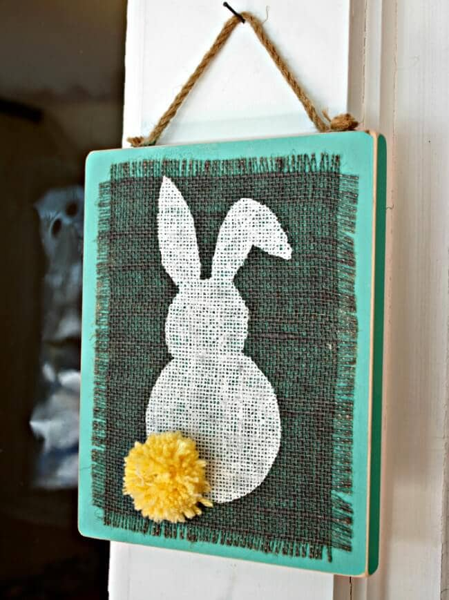 Bunny Silhouette Burlap Art
