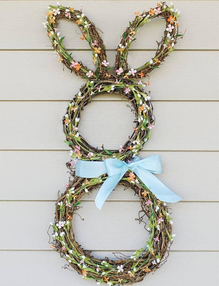Woodland Bunny Wreath with Blue Ribbon