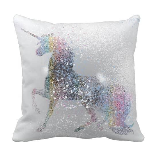 Paint Splash Unicorn Pillow