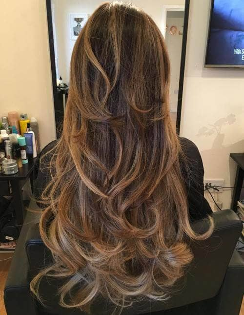 Long Layered Hair in Bouncy Curls