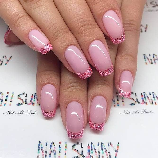 15) Unique Pink Take on the Classic French Manicure - 50 Dazzling Ways To Create Gel Nail Design Ideas To Delight In 2018