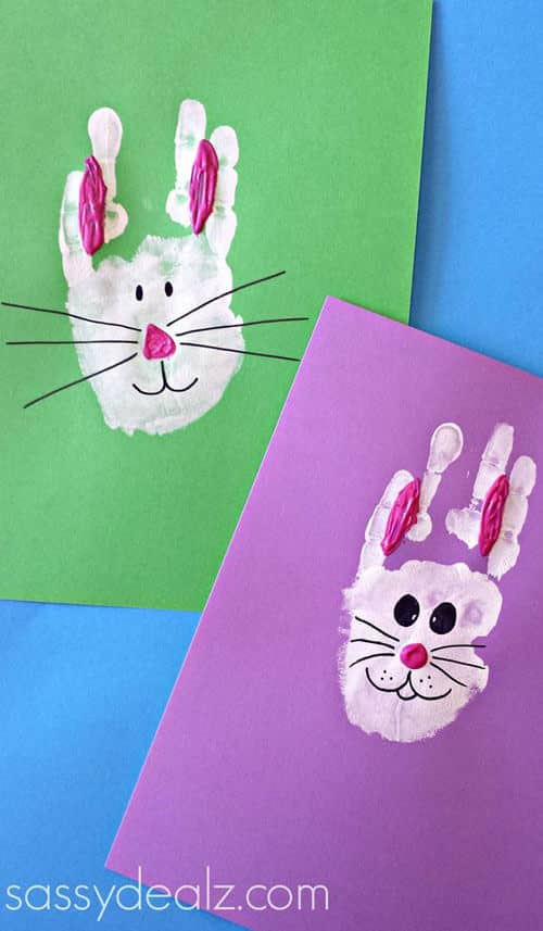 Adorable Handprint Bunnies on Paper