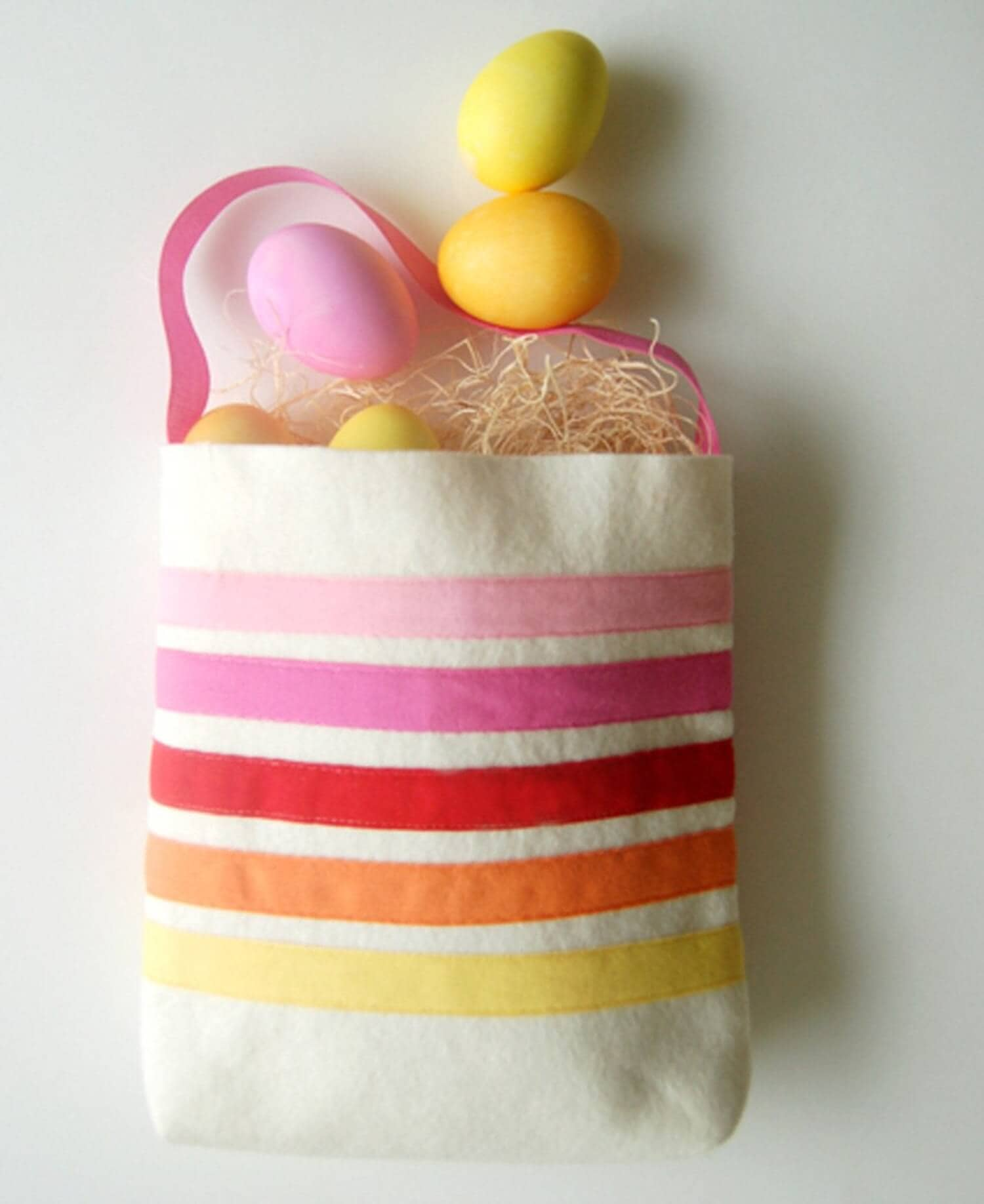 Easter Tote Bag with Felt Stripes