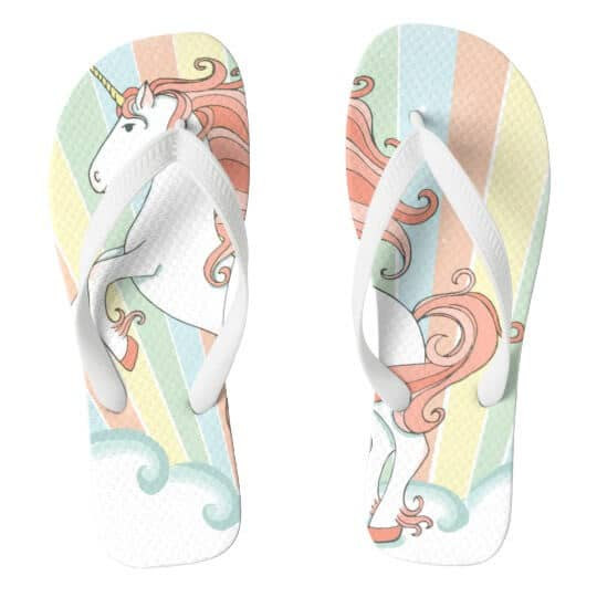 Rainbow Unicorn Flip Flops