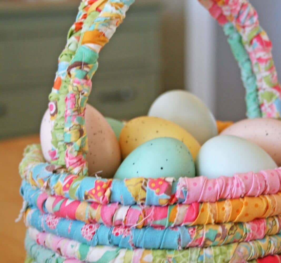 Wrapped Floral Fabric Easter Basket