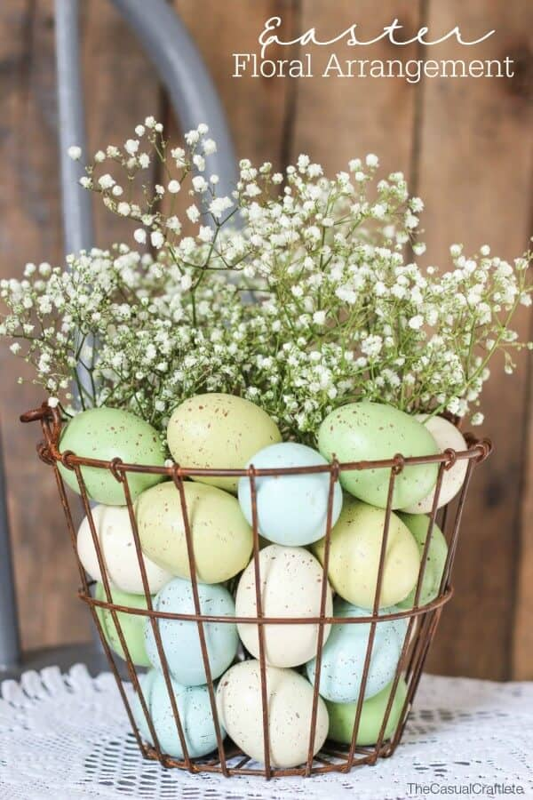 Basket of Eggs Kissed with Baby's Breath