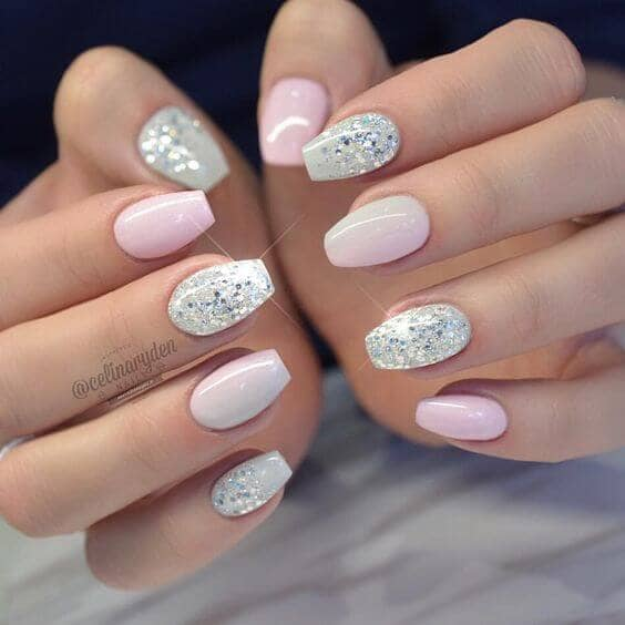 18) Pink and White with Shimmer and Shine - 50 Dazzling Ways To Create Gel Nail Design Ideas To Delight In 2018