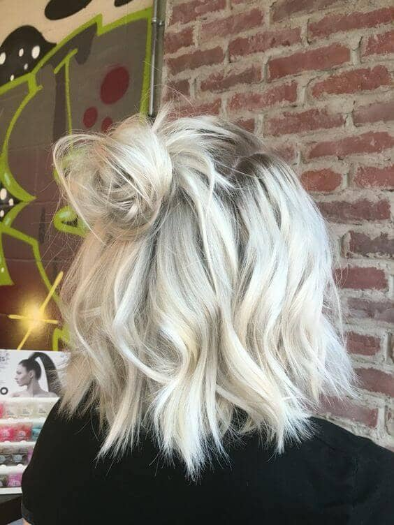 Dirty Platinum Blonde Grown-Out Bob